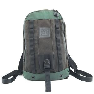 Sports Line Black Green Fabric and Rubber Backpack